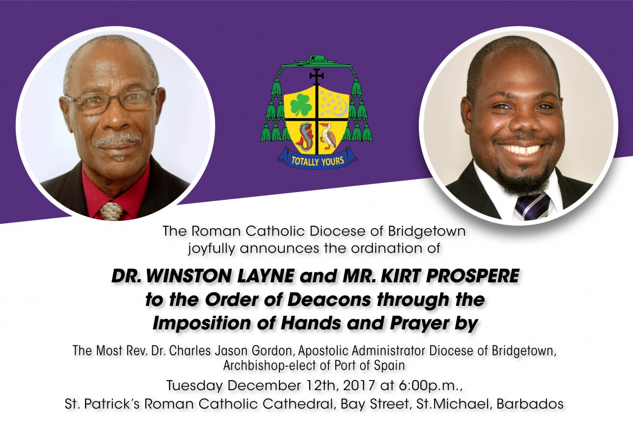 Ordination of Dr. Winston Layne and Mr. Kirt Prospere to the Order of Deacons, December January 12th, 2017
